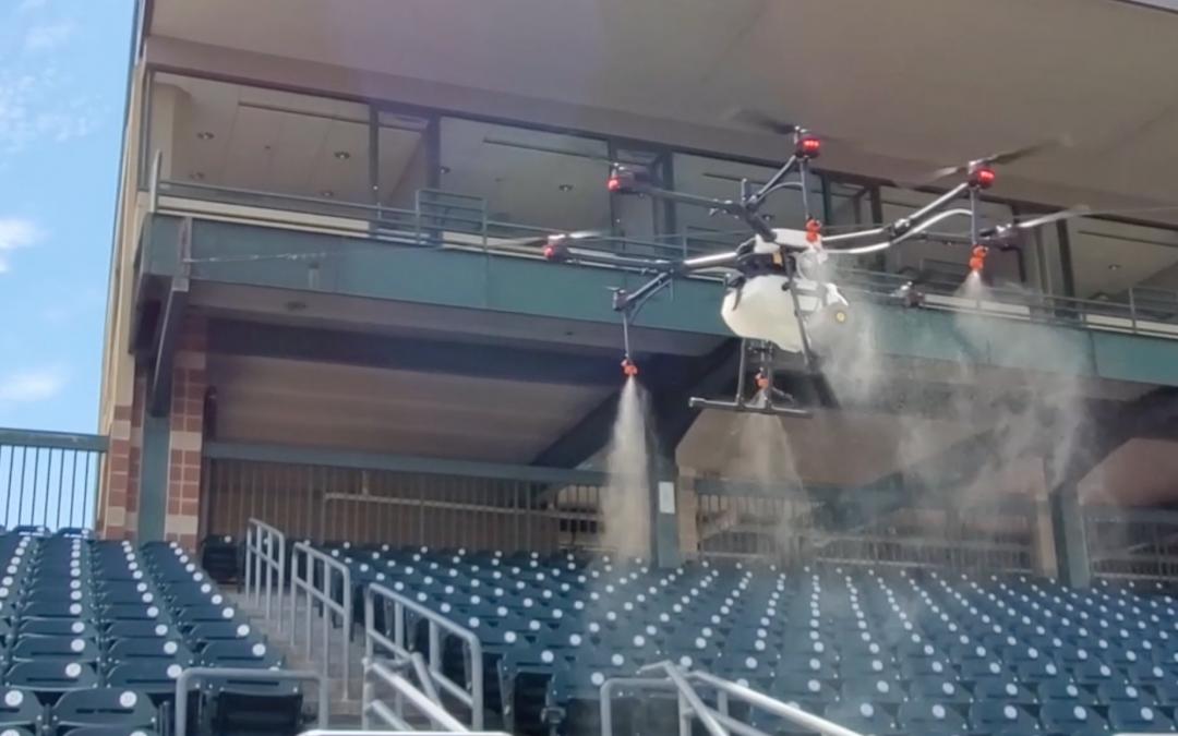 Rantizo drone sprayer sanitizing baseball stadium