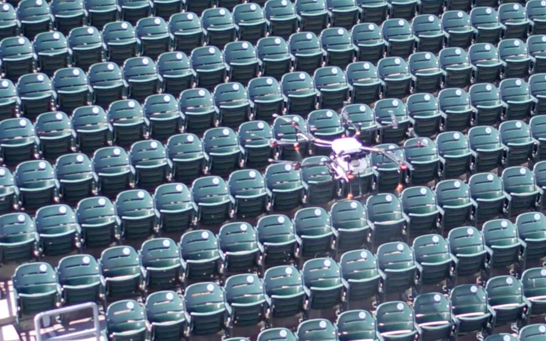 Rantizo drone sprayer sanitizing sports arena in Iowa