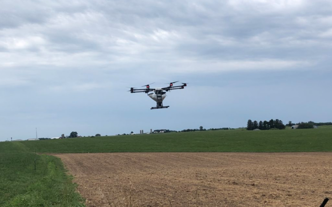 Rantizo drone applying cover crop seeds in Wisconsin