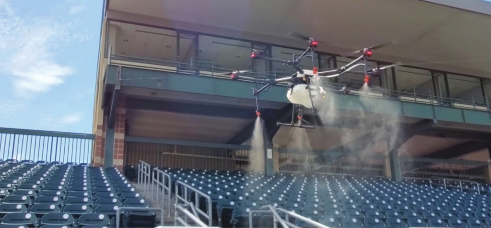 Rantizo spray drone sanitizing sports venue in Iowa