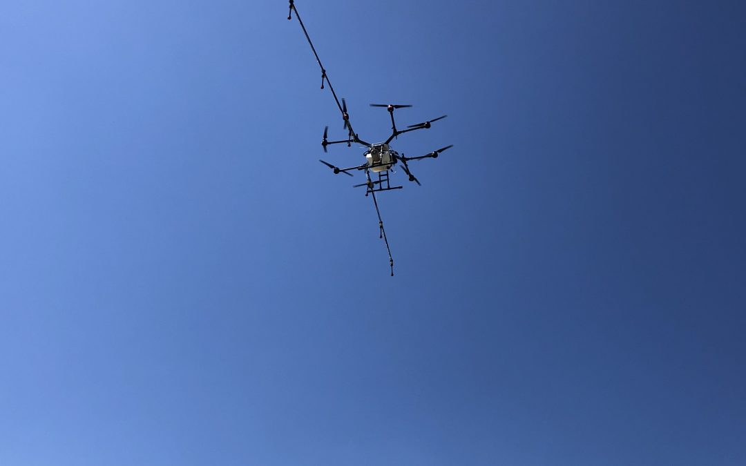 Rantizo drone flying high in the sky above crop field