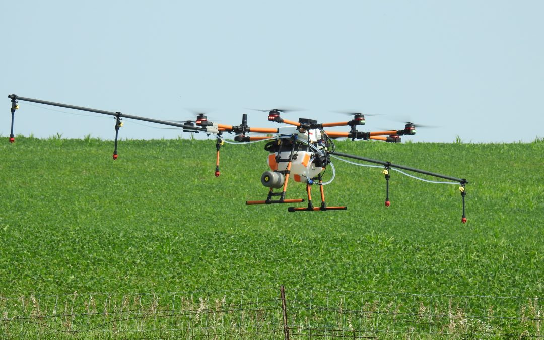 Rantizo drone sprayer performing swarming demo in Iowa City